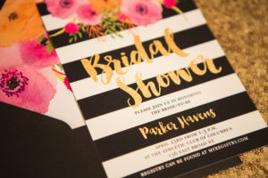 Bridal shower invite- black and white stripes, pink flowers