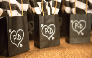Black and white party favors