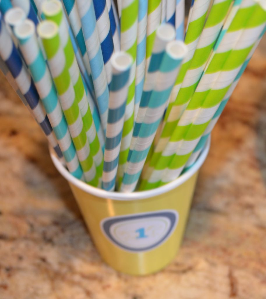 Blue and green straws