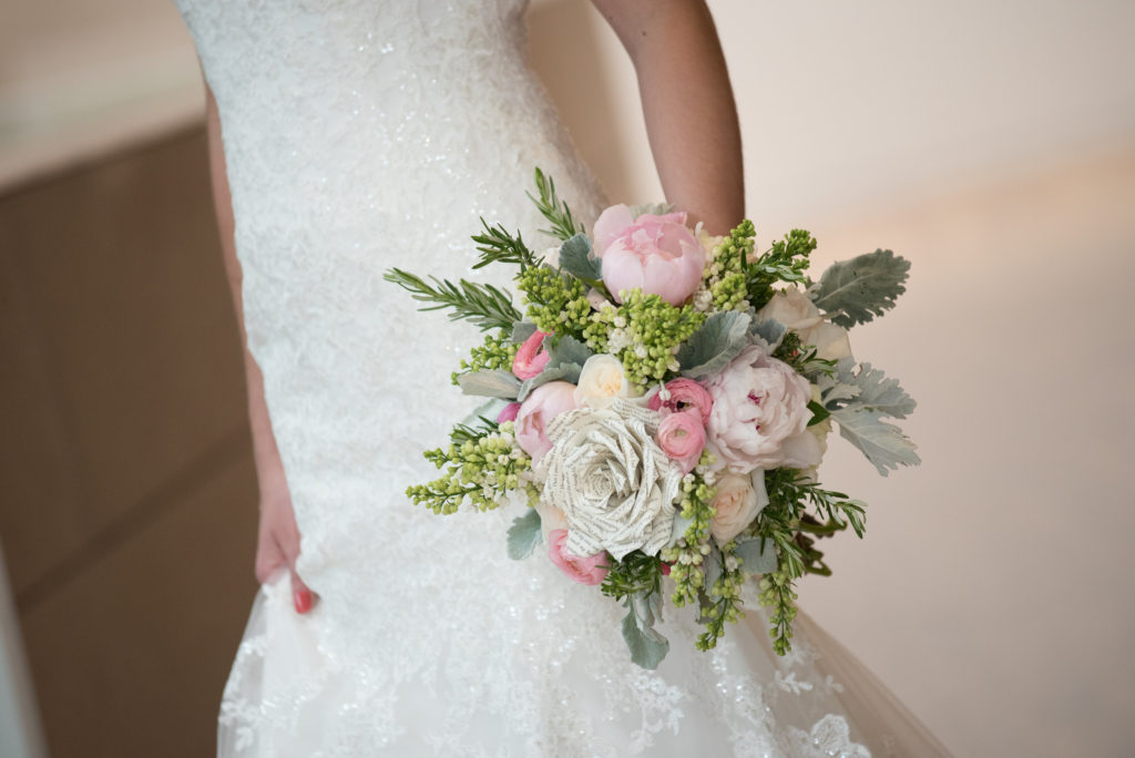 Bridal dress- bouquet with pinks and greens