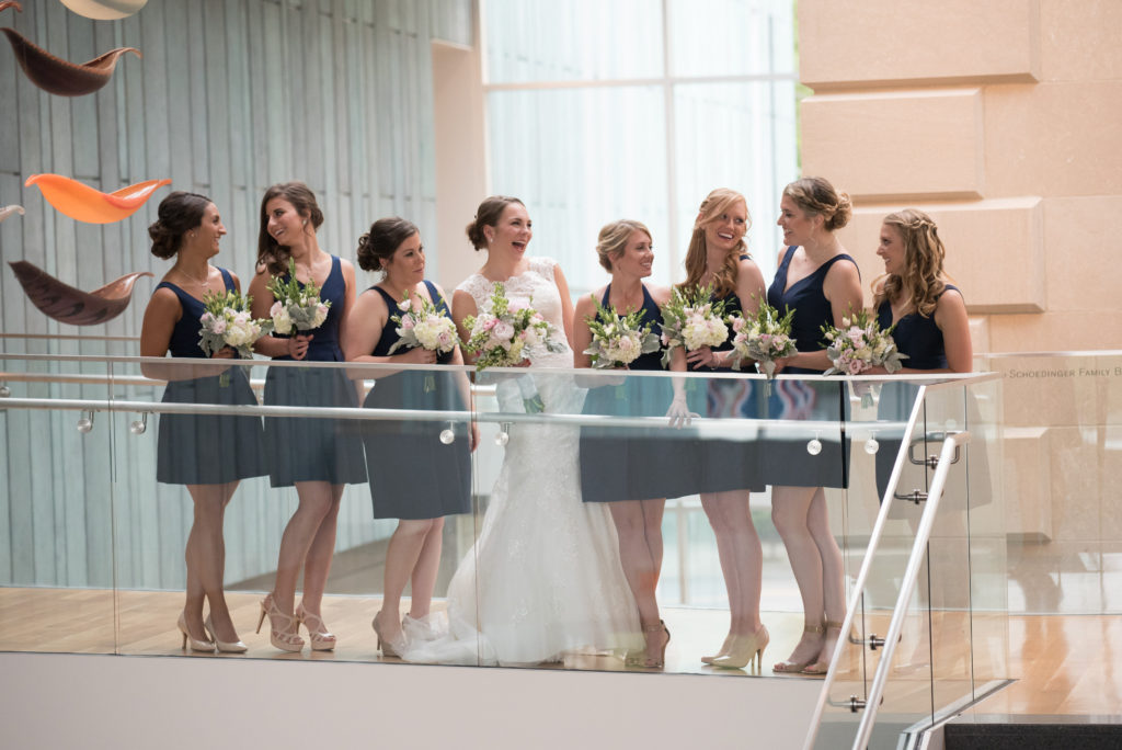 Bridal party on staircase navy dresses