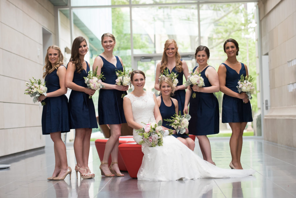 Bridal party, navy dresses