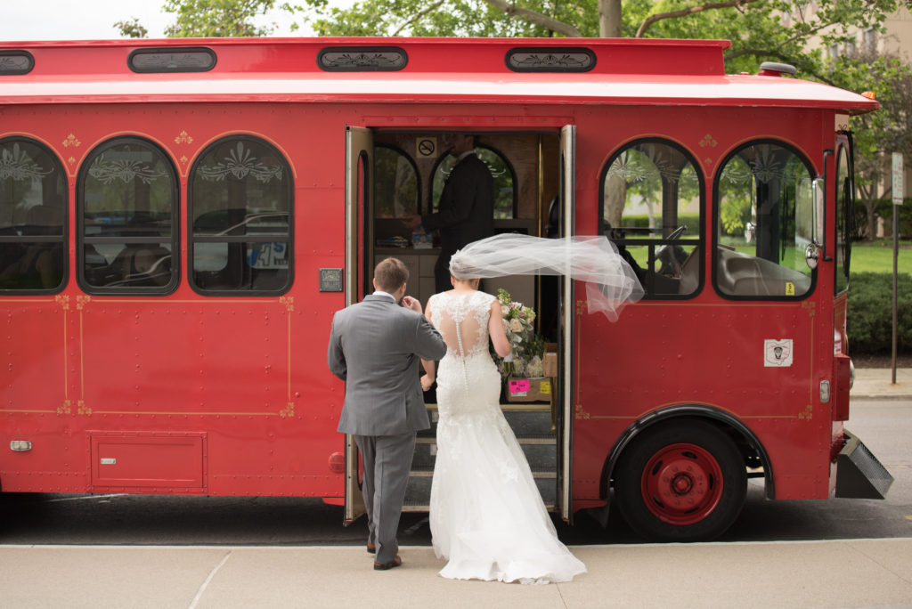 Bride and groom-red bus
