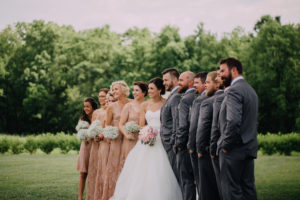 Wedding party with pink gold dresses