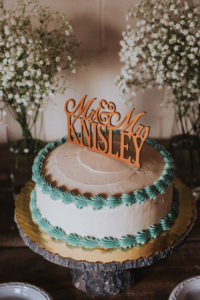 Cake with teal icing