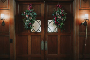 Door Swag, church doors, berry and blush, greenery