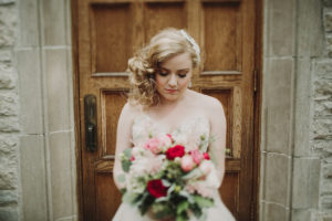 Bride, Bridal Bouquet, Berry and Blush flowers