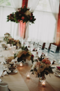 Head Table Flowers, Berry and Blush Flowers
