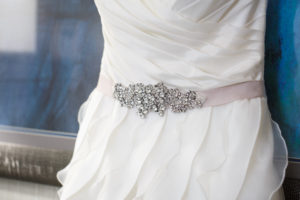 Wedding Dress with blush and jewel belt