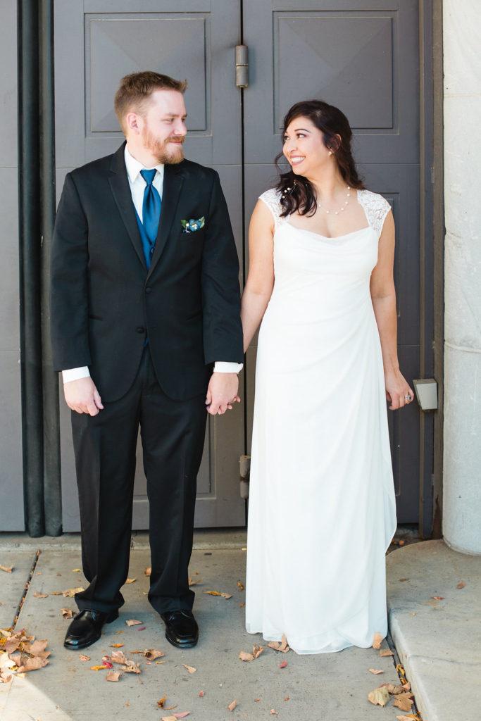 Bride and groom-blue tie