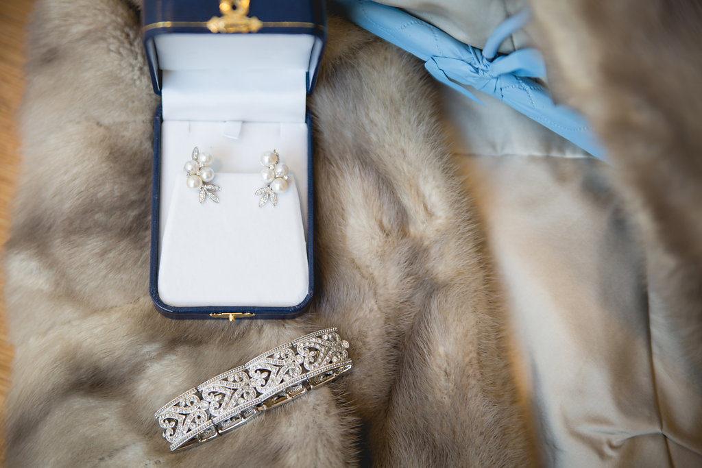 Bridal earring and bracelet