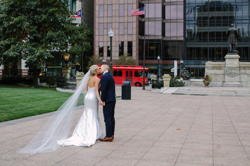 Bride and Groom, Columbus Trolley, Wedding