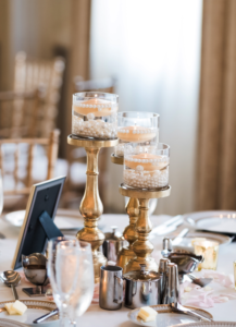 Candle centerpiece with pearls