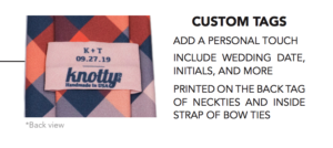 Knotty tie custom tags