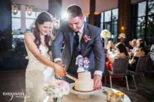 Abby & Brad cake cutting