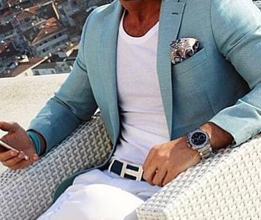 Mens summer style: Aqua blue linen blazer jacket, white t-shirt, white trouser