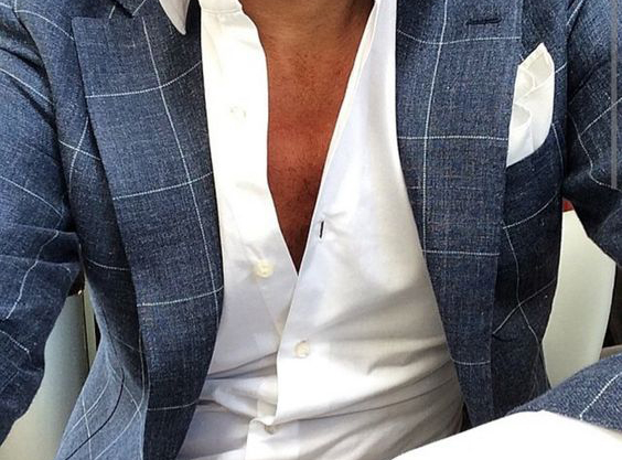 Summer style: Checkered blue blazer jacket, white shirt