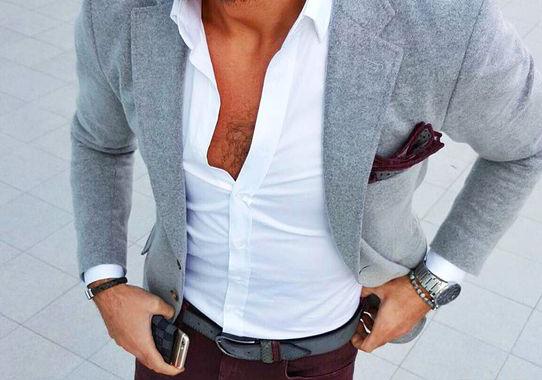 Mens summer style: Grey blazer jacket, white shirt, dark maroon trouser