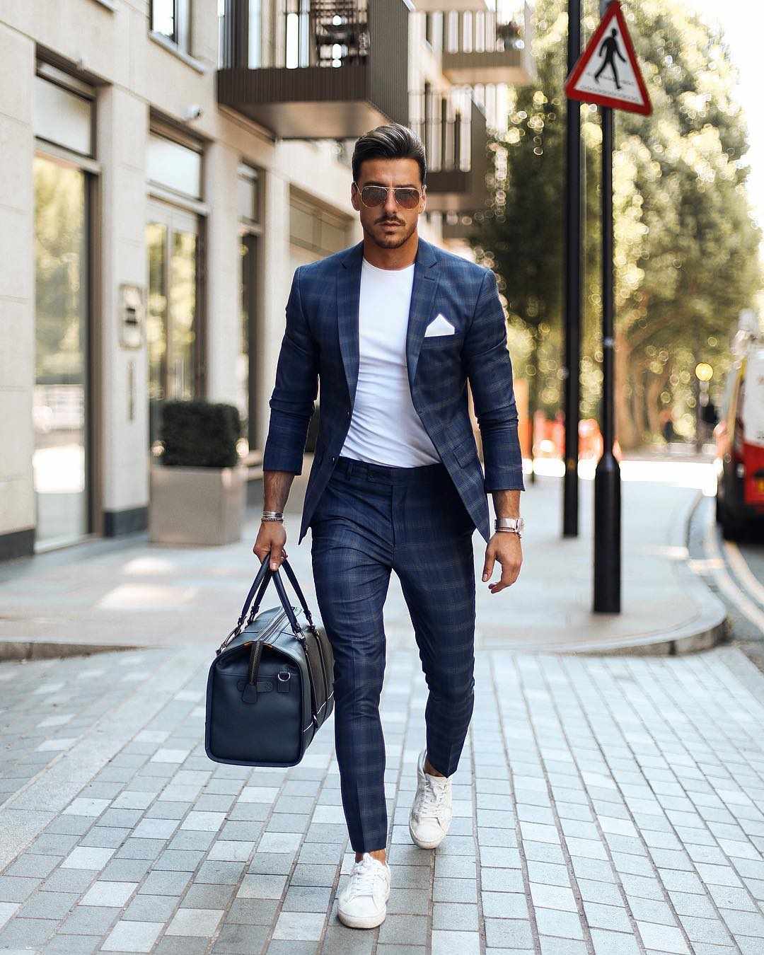 suit with trainers