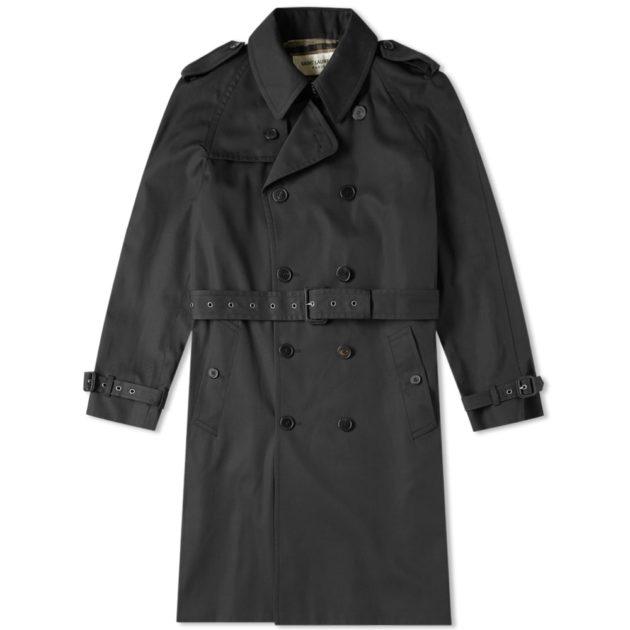 Saint Laurent Belted Trench Coat Black