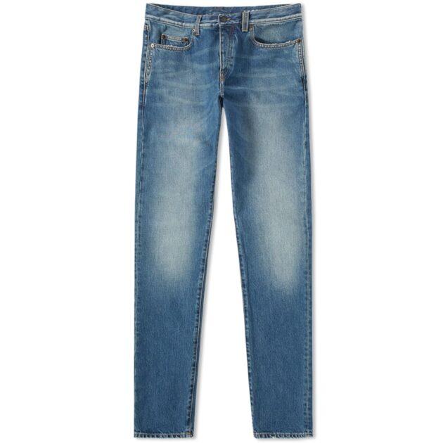 faded denim jeans by saint laurent