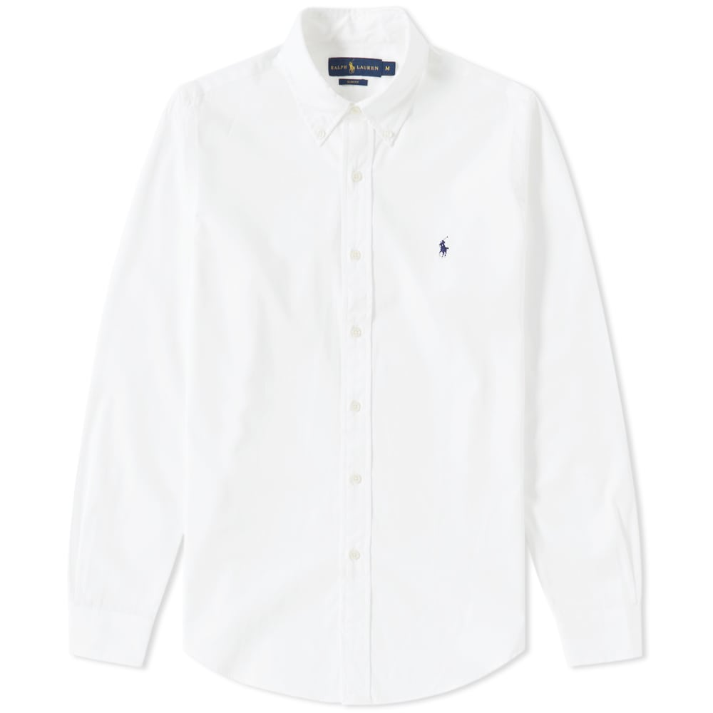 Polo Ralph Lauren Slim Fit Button Down Poplin Shirt White