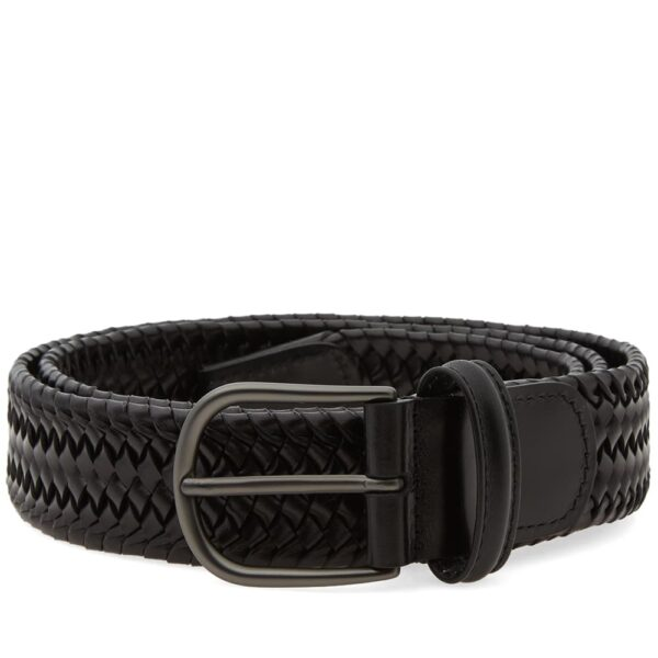 Anderson's Stretch Woven Leather Belt Black