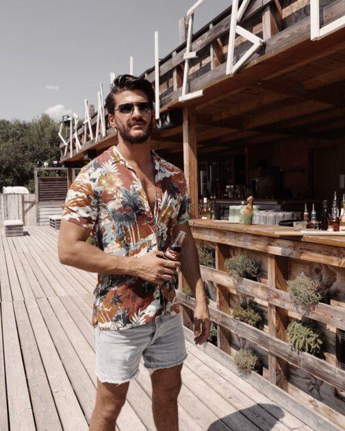 hawaiian shirt with denim shorts