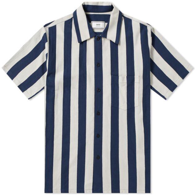 AMI Short Sleeve Vertical Stripe Shirt – vertical stripe shirts