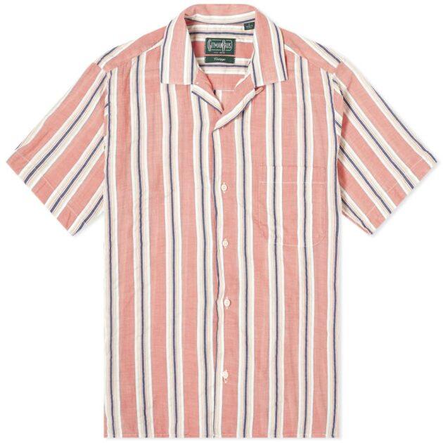 Gitman Vintage Camp Collar Awning Stripe Shirt – vertical stripe shirts