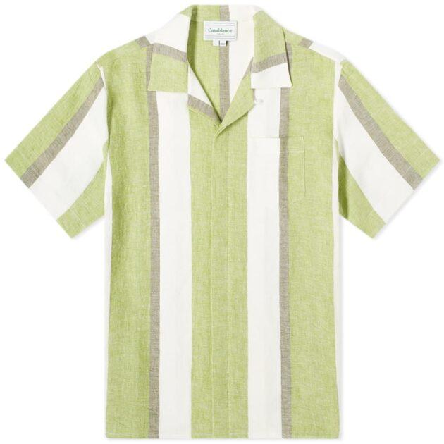Casablanca Striped Linen Shirt – vertical stripe shirts