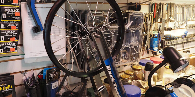 Wheel on Bicycle Trueing Stand - Circuit Cyce & Sports