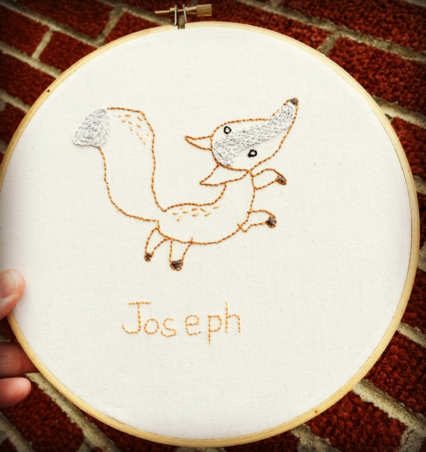 Penguin and Fish Embroidery Fox