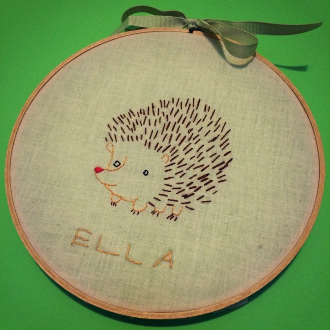Penguin and Fish Embroidery Hedgehog