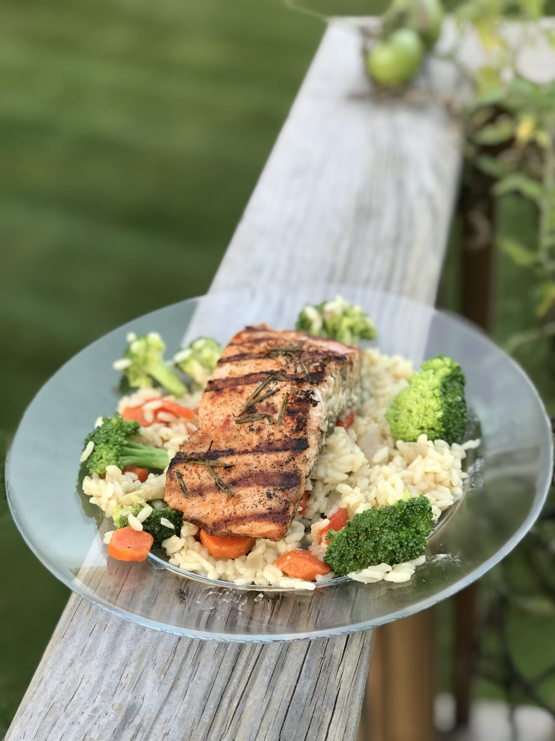Grilled salmon and risotto