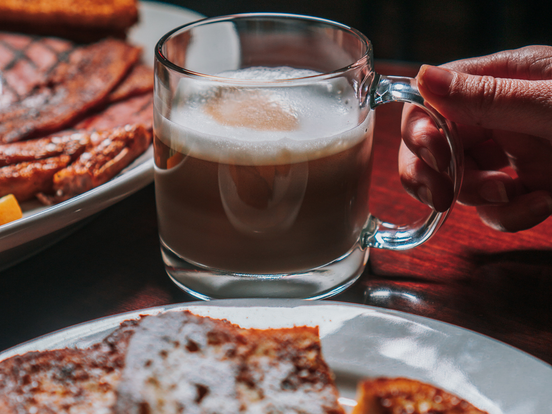 Breakfast with a cup of coffee