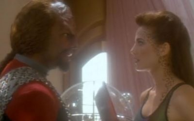 "Uninspired antagonists, Klingon angst and glittery swimming trunks – DS9's ""Let He Who Is Without Sin"" has it all … sorta."