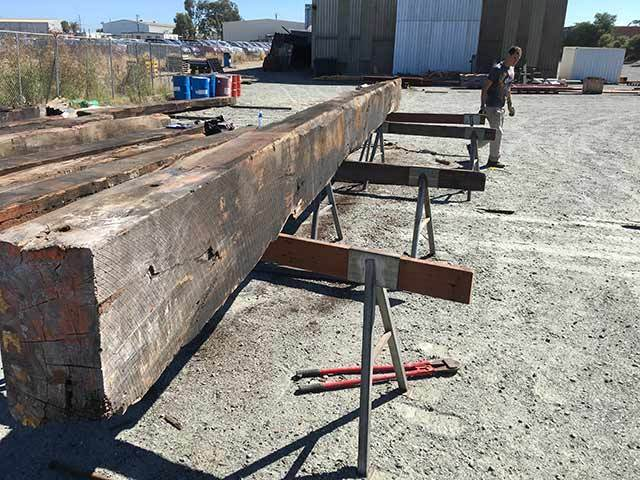 recycled reclaimed jarrah bridge beams perth timber