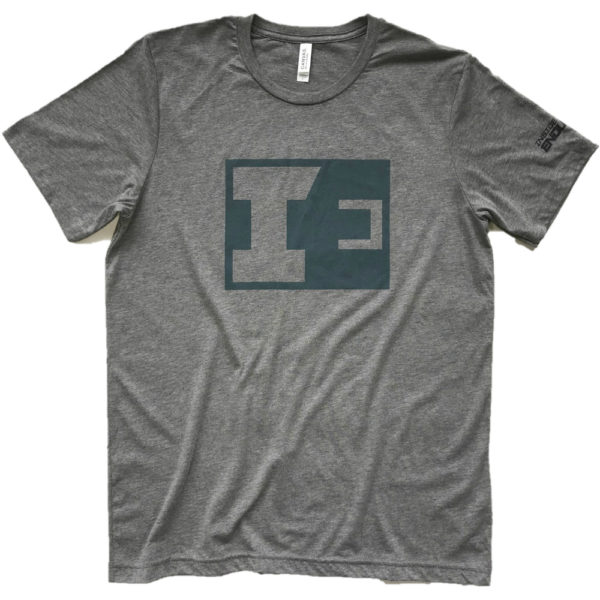 IE Grey T-Shirt with Teal Print - Front