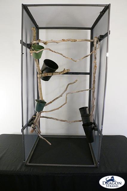 Chameleon cage setup: mounting plant pots