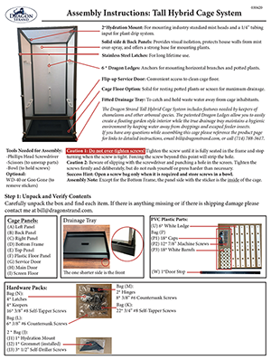 Dragon Strand Tall Hybrid Cage Assembly Instructions