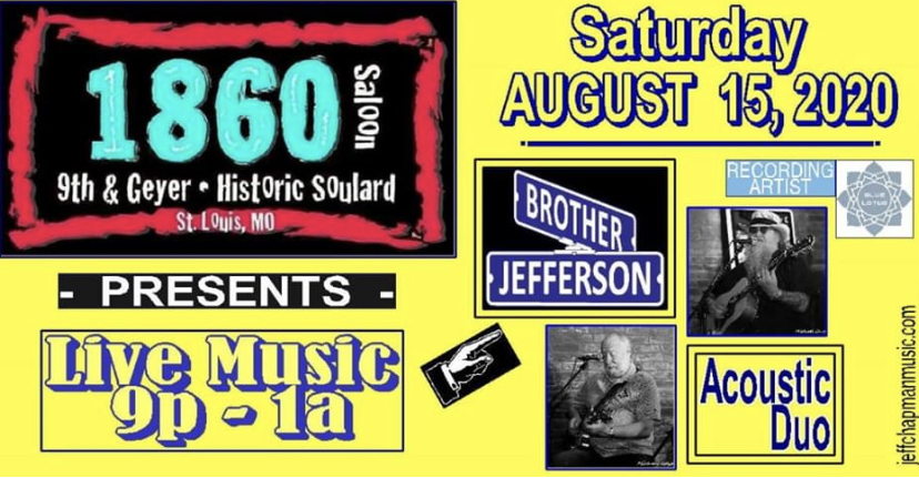 Music: Brother Jefferson Duo 9 – 1 a.m., no cover