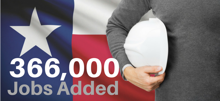 Texas Projected to Add 366,000 Jobs in 2018