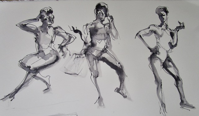 By Jackie Saunders - Kenyatta took bold poses, 5 min each ,in bathing suit, with sunglasses and beach bag.