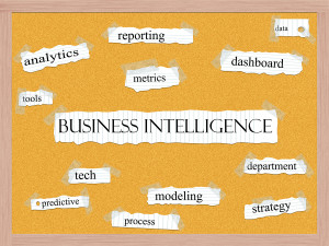 Business Intelligence Corkboard Word Concept
