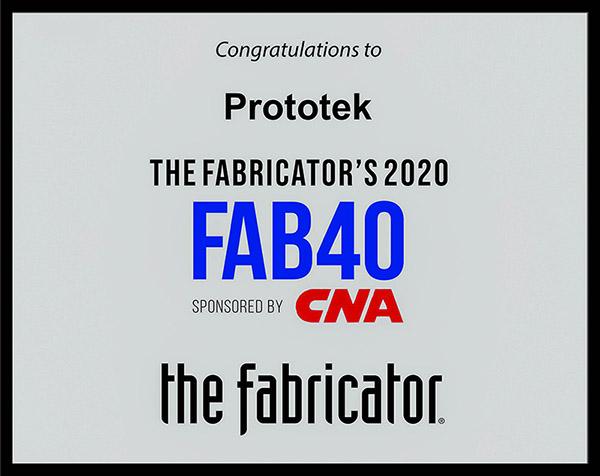 Prototek FAB 40 2020 award