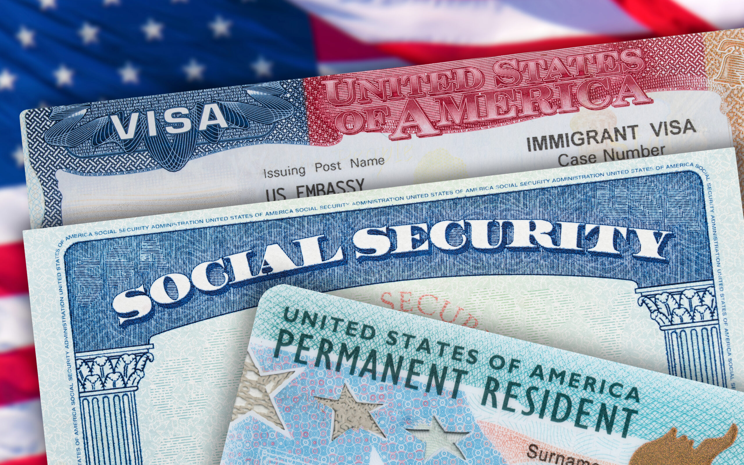 Green Card US Permanent resident USA. Social Security card. VISA United States of America. Electronic Diversity Visa Lottery DV-2022 DV Lottery Results. American flag on background.