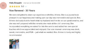 5 Star Review of Civil Ceremony to Renew Wedding Vows with Reverend Arlene Goldman