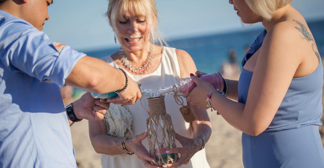 Unity sand ceremony on the beach