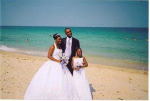 Beach wedding with children